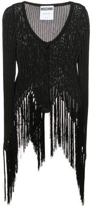 Moschino asymmetric fringed ribbed top