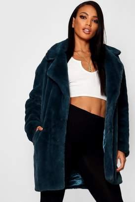 boohoo Boutique Oversized Collar Faux Fur Coat