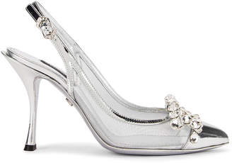 Dolce & Gabbana Bow Slingback Heels in Silver | FWRD