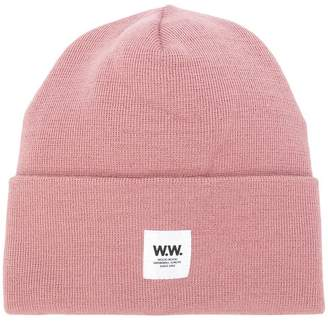 Wood Wood ribbed logo patch beanie