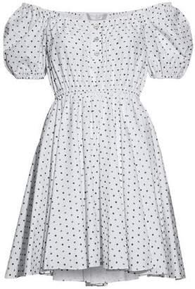 Caroline Constas Bardot Off-The-Shoulder Fil Coupé Cotton-Poplin Mini Dress