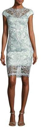 Tadashi Shoji Cap-Sleeve Damask Cocktail Sheath Dress, Aqua $395 thestylecure.com