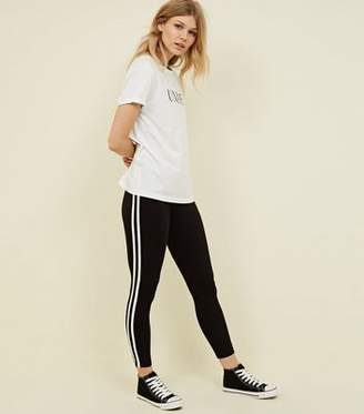 New Look Petite Black Double Side Stripe Leggings
