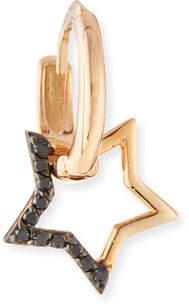 Black Diamond Kismet by Milka Sheriff Star 14K Rose Gold & Dangling Hoop Earring