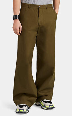 Balenciaga Men's Brushed Cotton Canvas Wide-Leg Chinos - Olive