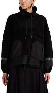 Undercover Women's Satin-Trimmed Wool Fleece Sweatshirt - Black