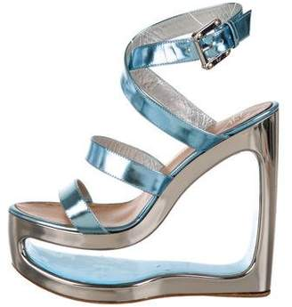 Giuseppe Zanotti Metallic Leather Round-Toe Platforms