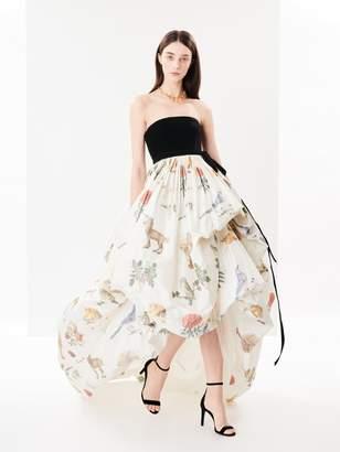 Oscar de la Renta Velvet and Enchanted Forest Chine Gown