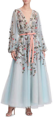 Marchesa Floral & Dragonfly Embroidered V-Neck Tea-Length Gown