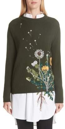 Oscar de la Renta Embellished Dandelion Wool Blend Sweater