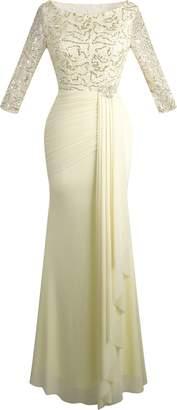 Angel-fashions Women's V Neck Sequin Half Sleeves Mermaid Sheath Dress