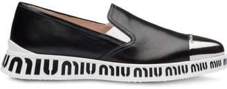 Miu Miu nappa leather slip-on sneakers