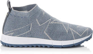 Jimmy Choo NORWAY Dusk Blue Knit and Silver Lurex Trainers
