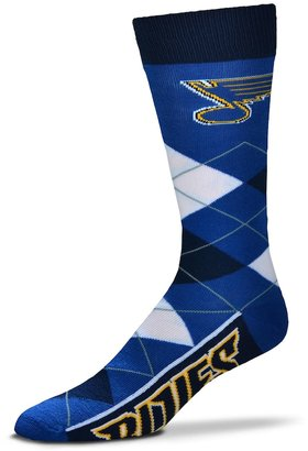 For Bare Feet Adult For Bare Feet St. Louis Blues Argyle Line Up Crew Socks