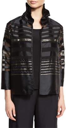 Caroline Rose Plus Size Striped Organza Bracelet-Sleeve Jacket