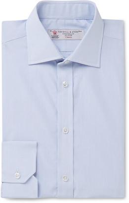 Turnbull & Asser Blue Slim-Fit Cutaway-Collar Micro-Checked Cotton-Poplin Shirt