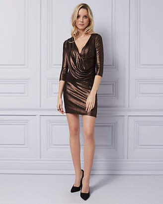 Le Château Foil Knit V-Neck Cocktail Dress