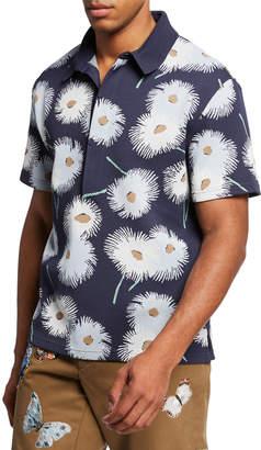 Valentino Men's Dandelion-Print Knit Polo Shirt