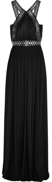 Alexander Wang Alexander Wang - Eyelet-embellished Leather-trimmed Stretch-crepe Gown - Black