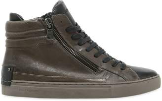 Double Zip Leather High Top Sneakers