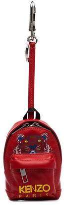 Kenzo red logo print backpack leather key ring
