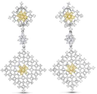 18K White Gold 2.60ct White & Yellow Large Diamond Dangling Earring