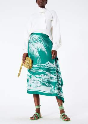 Tibi Leilani On Silk Twill Asymmetrical Skirt
