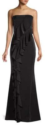 Jay Godfrey Steele Ruffle Front Strapless Gown