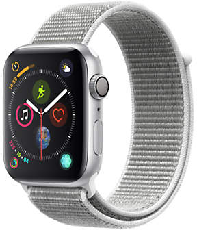 Apple Watch Series 4, GPS, 44mm Silver Aluminium Case with Sport Loop, Seashell