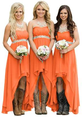 Fanciest Women' Strapless Beaded High Low Bridesmaid Dresses Wedding Party Gowns