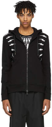 Neil Barrett Black and White Fair Isle Thunderbolt Zip Hoodie