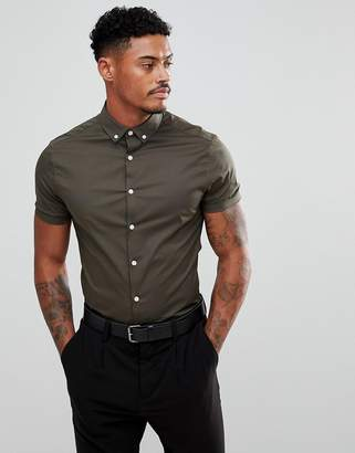 Asos DESIGN skinny shirt in khaki with short sleeves and button down collar