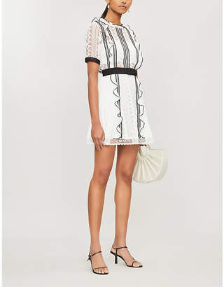 Self-Portrait Self Portrait Contrast-trim guipure lace and crepe mini dress