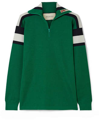 Gucci Embroidered Striped Wool, Silk And Cashmere-blend Sweater - Green