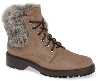 Aquatalia Lacy Genuine Shearling Lined Boot with Genuine Rabbit Fur Trim
