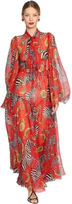 Dolce & Gabbana Zebras Printed Silk Chiffon Long Dress