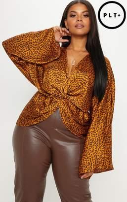 PrettyLittleThing Plus Tan Leopard Print Satin Twist Front Blouse