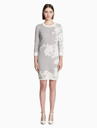 Calvin Klein floral 3/4 sleeve sweater dress
