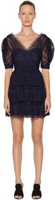 Self-Portrait Spiral Lace Mini Dress W/Balloon Sleeves