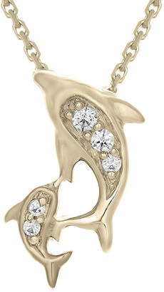 FINE JEWELRY Diamond-Accent 10K Yellow Gold Dolphins Mini Pendant Necklace