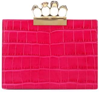 Alexander McQueen Four Ring Small leather clutch