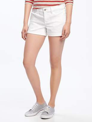 "Cuffed White Denim Shorts for Women (3 1/2"") $19.94 thestylecure.com"