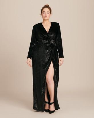 Brandon Maxwell Lurex Velvet Wrap Gown with Sleeves