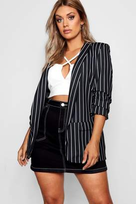 boohoo Plus Striped Blazer