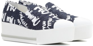 Miu Miu Platform denim sneakers