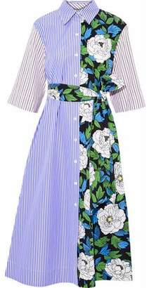 Diane von Furstenberg Striped Cotton-poplin And Floral-print Twill Midi Shirt Dress