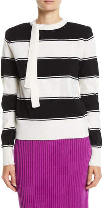 Marc Jacobs Tie-Neck Long-Sleeve Striped Wool Sweater and Matching Items