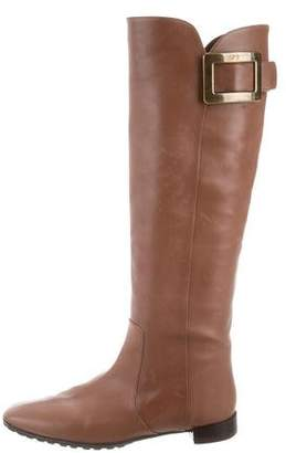 Roger Vivier Buckle-Accented Knee-High Boots