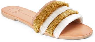 Dolce Vita Yellow & White Celaya Fringe Slide Sandals