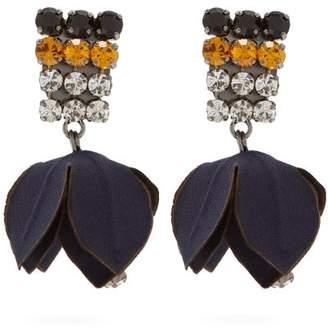 Marni Crystal Embellished Flower Drop Clip On Earrings - Womens - Navy